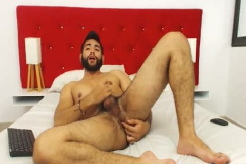Studly hairy guy Fingers His butthole And Cums Hard